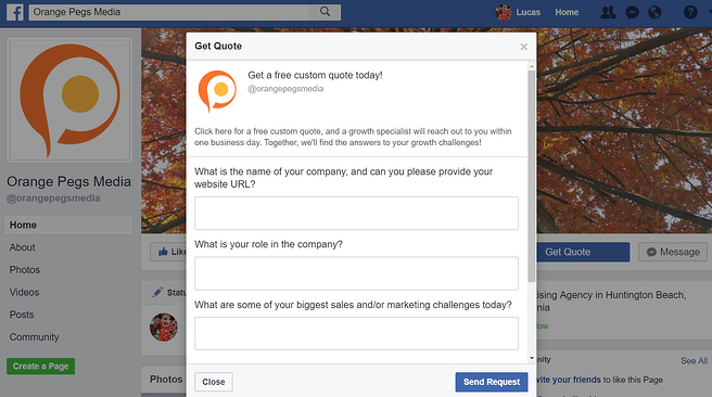 Facebook call to action example 1