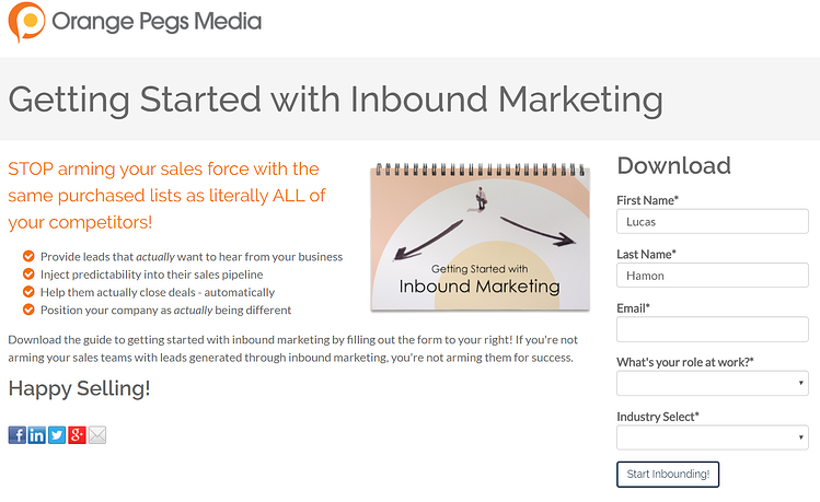 lead generation landing page example