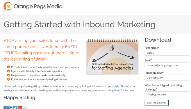 guide to getting started with inbound marketing CTA example
